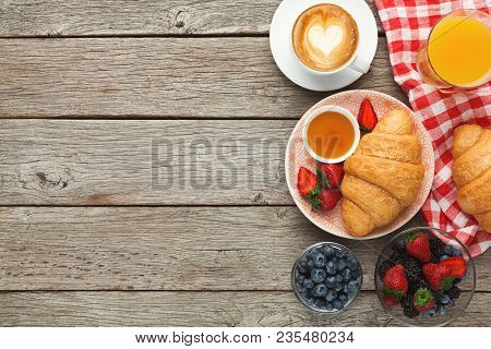 Rich Morning Food Background. French Pastry And Fresh Organic Berries For Tasty Day Start. Luxirious