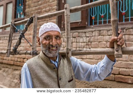 Srinagar, India - June 15, 2017: A portrait of an unidentified  Kashmiri muslim man in Srinagar, Jammu and Kashmir, India