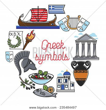 Greece Travel Poster Of Greek Famous Sightseeing Landmarks And Culture Attractions. Vector Symbols O