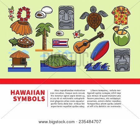 Hawaii Famous Symbols And Tourist Sightseeing Attraction Landmarks Icons For Travel Or Tourism Agenc