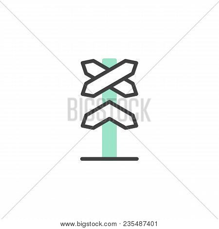 Railway Roadsign Icon Vector, Linear Flat Sign, Bicolor Pictogram, Green And Gray Colors. Railroad C