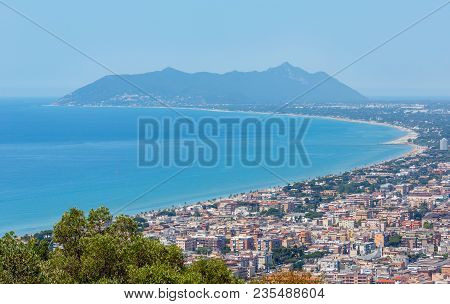 Tyrrhenian Sea Coast View From Temple Of Jupiter Anxur (tempio Di Giove Anxur), Terracina, Latina, L