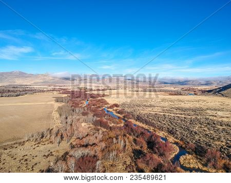 Aerial Drone Photo Of River, Trees, And Landscape In Blaine County Near Bellevue, Idaho, Usa.