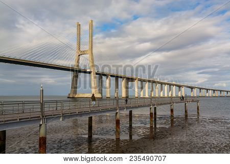 Lisbon Portugal. 09 April 2018. Vasco Da Gama Bridge In Lisbon.lisbon, Portugal. Photography By Rica