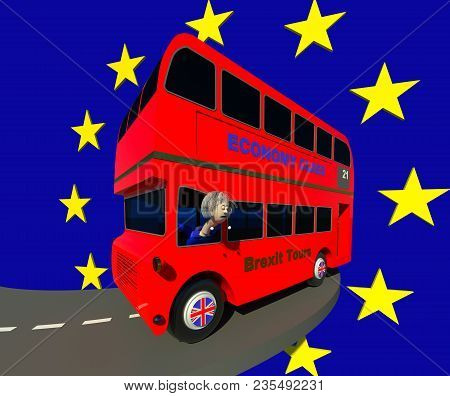 Uk Leaving Eu 3d Illustration. Red Double Decker Bus Taking Sharp Turn, Fictional Character Mad Driv
