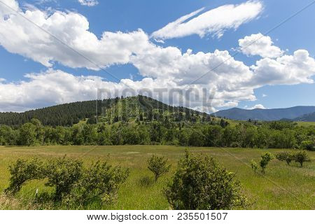 Puffy White Clouds Over Lush Green Landscape In Central Montana, Usa.