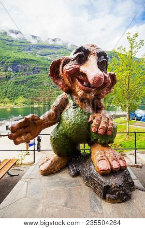Geiranger, Norway - July 30, 2017: Norwegian Troll In Geiranger Village In Sunnmore Region Of Norway