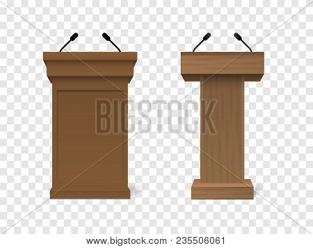 Set Of Vector White Podium Tribune Rostrum Stand With Microphones Isolated On Checkered Background