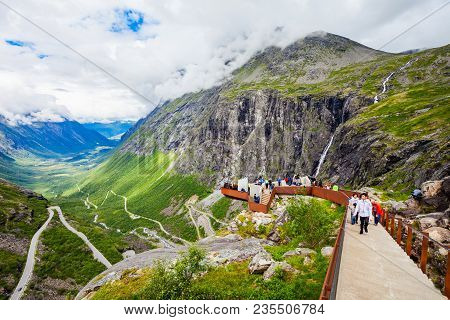 Trollstigen, Norway - July 30, 2017: Trollstigen Viewing Or Viewpoint Platform. Trollstigen Or Troll