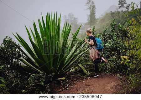 Female Traveler Amire Huge Endemic Agave Plant On Santo Antao Cape Verde.