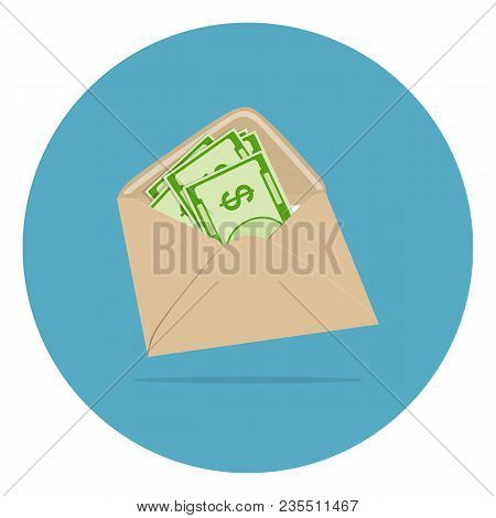 Vector Image Of Monetary Banknotes In An Envelope In Flat Style. The Concept Of Giving Wages, Transf