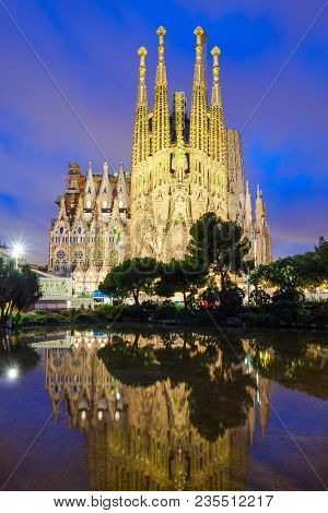 Barcelona, Spain - October 02, 2017: Sagrada Familia Is A Catholic Church In Barcelona, Designed By