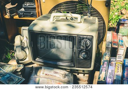 Selling Antiques And Collectors Items Like Old Tube Tv, Vintage Telephone, Cassette Tapes And Other