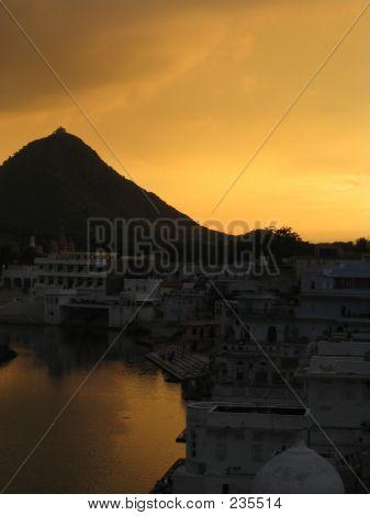 Sunset At Puskhar Lake
