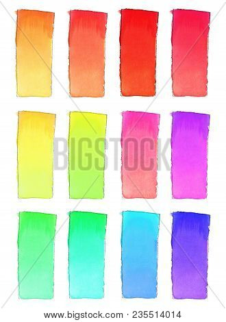 Set Of 16 Watercolor Gradient Fill  For Background. Texture Of Watercolor Paper. A Vertical Rectangl