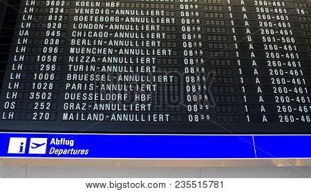 Frankfurt, Germany - April 10 2018 : Flight Information Board Showing Flights Delayed Or Cancelled D