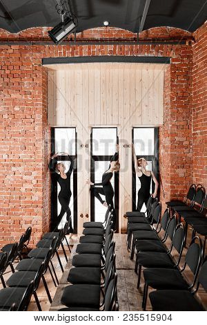 Young Ballerina Girls. Women At The Rehearsal In Black Bodysuits. Prepare A Theatrical Performance.