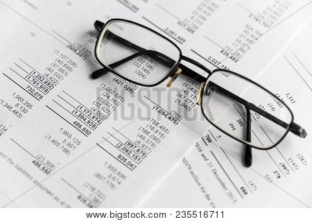 Business Composition. Financial Analysis - Income Statement, Business Plan With Glass