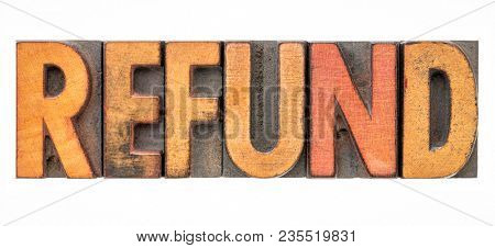 refund - isolated word abstract in vintage letterpress wood type
