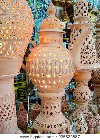 Large Lamp Made Of Clay In The Form Of A Kettle. Tunisia