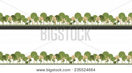 Vector Seamless Horizontal Pattern Of Trees Stylized Simplistic, Forest Belt On White Background