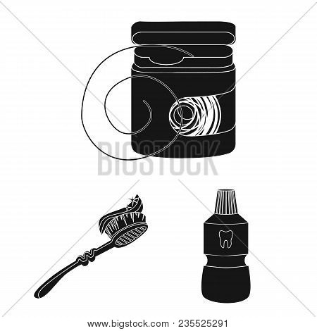 Dental Care Black Icons In Set Collection For Design. Care Of Teeth Vector Symbol Stock  Illustratio