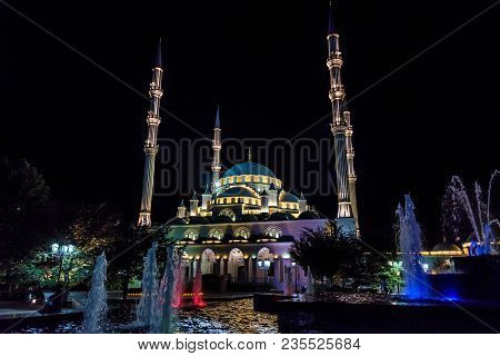 Grozny, Russia - July 9, 2017: Evening View Of Akhmad Kadyrov Mosque In Grozny, Chechnya, Russia. It