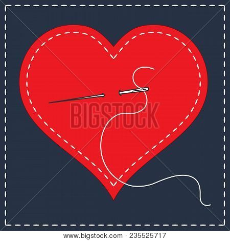 Embroidery Stylization With Stitches. A Vector Illustration Of Stitched Heart, Needle With Thread. B
