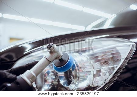 Car Polish Wax Worker Hands Holding Polisher And Polish Car Detailing Or Valeting Concept Selective