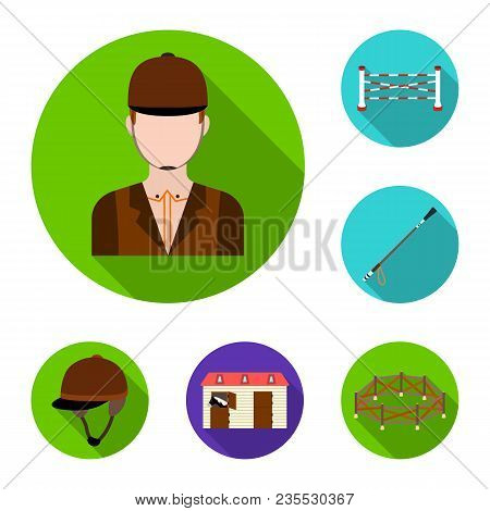 Hippodrome And Horse Flat Icons In Set Collection For Design. Horse Racing And Equipment Vector Symb