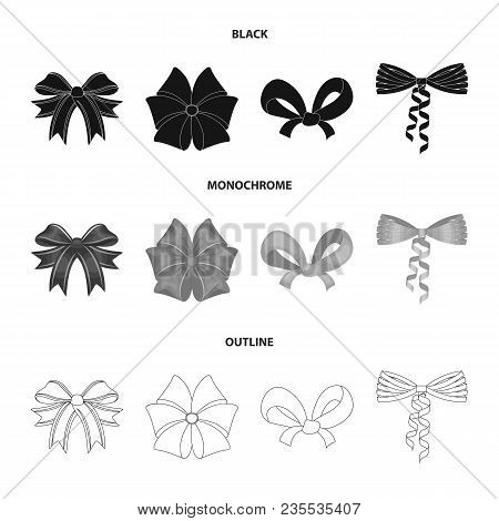 Bow, Ribbon, Decoration, And Other  Icon In Black, Monochrome, Outline Style. Gift, Bows Node Icons