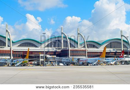 Istanbul, Turkey - May 23, 2017: View Of The Sabiha Gokcen International Airport (saw) In Istanbul,