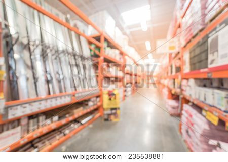 Blurred Large Hardware Home Improvement Store In Usa