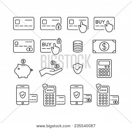 Money And Credit Card, Debit Card Icon Set. Payment, Transactions And Banking Icons. Outline, Editab