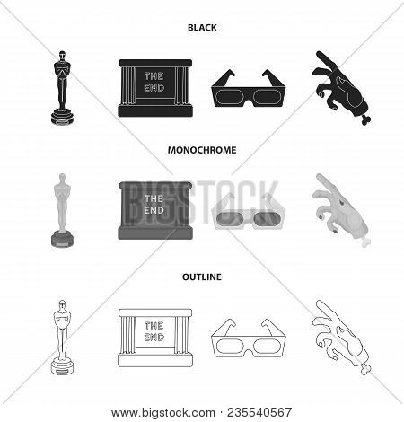 Award Oscar, Movie Screen, 3d Glasses. Films And Film Set Collection Icons In Black, Monochrome, Out