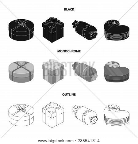Gift Box With Bow, Gift Bag.gifts And Certificates Set Collection Icons In Black, Monochrome, Outlin