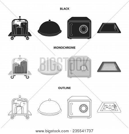 Trolley With Luggage, Safe, Swimming Pool, Clutch.hotel Set Collection Icons In Black, Monochrome, O