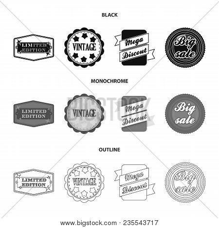 Limited Edition, Vintage, Mega Discont, Dig Sale.label, Set Collection Icons In Black, Monochrome, O