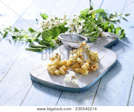 Pan Fried Acacia Flowers Fritters Dipped In Batter