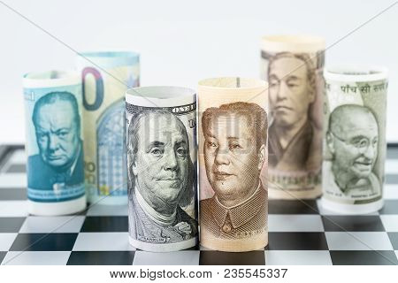 Us Dollar And China Bank Roll At Front Surrund With World Major Countries, India, Japan, Europe And