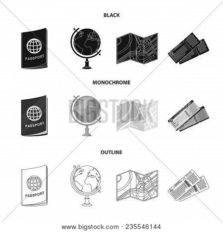Vacation, Travel, Passport, Globe .rest And Travel Set Collection Icons In Black, Monochrome, Outlin