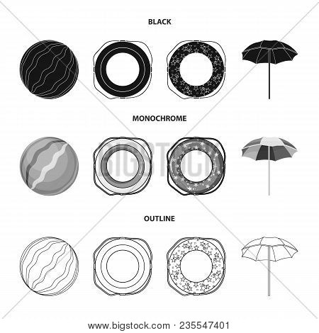 Multicolored Swimming Circle Black, Monochrome, Outline Icons In Set Collection For Design. Differen
