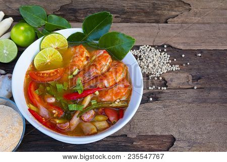 Shrimp Soup Or Tom Yam Goongtraditional Food In Thailand Contains Chili, Lime, Ginger, Galangal, Lem