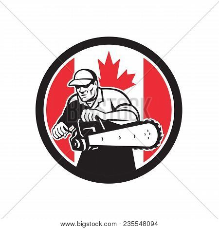 Icon Retro Style Illustration Of A Canadian Tree Surgeon Or Lumberjack Holding A Chainsaw With Canad