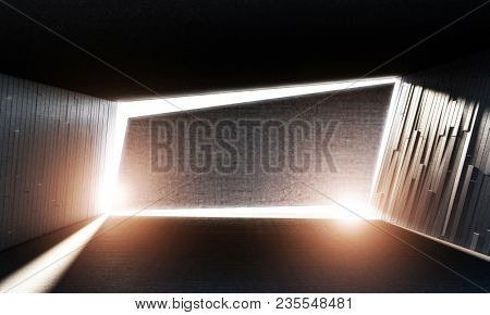 sunset light on concrete abstract interior 3d rendering image