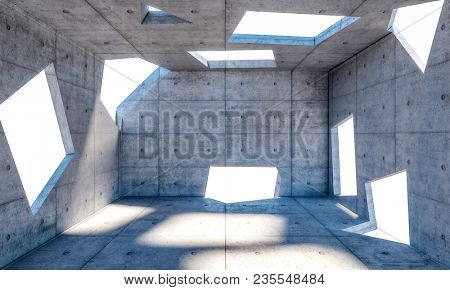irregular windows on abstract concrete room 3d rendering image
