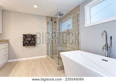 Light Modern Bathroom Design With Walk In Shower