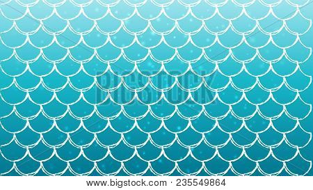 Mermaid Scale On Trendy Gradient Background. Horizontal Backdrop With Mermaid Scale Ornament. Bright