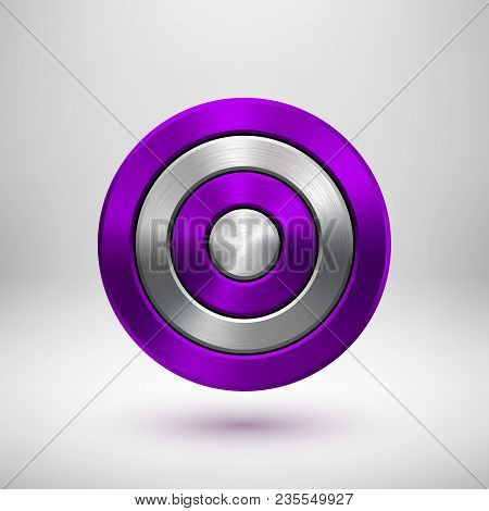 Violet, Purple Technology Circle Badge, Abstract Geometric Perforated Button Template With Metal Tex