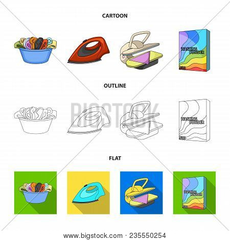 A Bowl With Laundry, Iron, Ironing Press, Washing Powder. Dry Cleaning Set Collection Icons In Carto